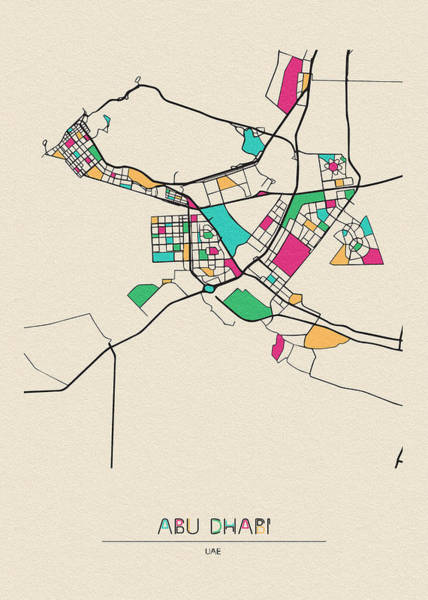 Wall Art - Digital Art - Abu Dhabi, Uae City Map by Inspirowl Design