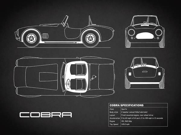 Ac Cobra Wall Art - Photograph - Ac Cobra Blueprint - Black by Mark Rogan