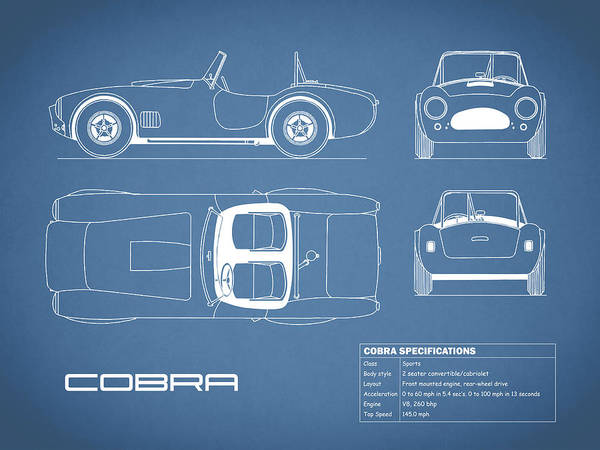 Shelby Cobra Photograph - Ac Cobra Blueprint by Mark Rogan