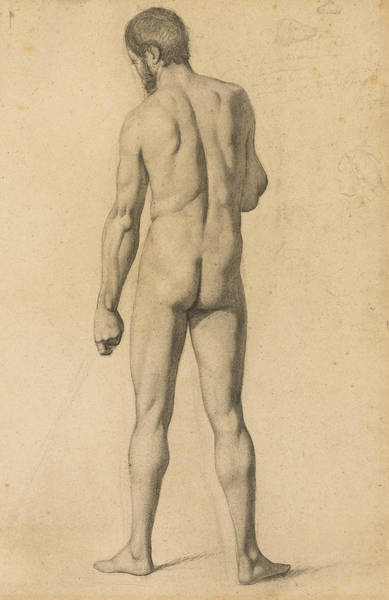 Wall Art - Drawing - Academic Nude, Seen From The Back by Paul Cezanne