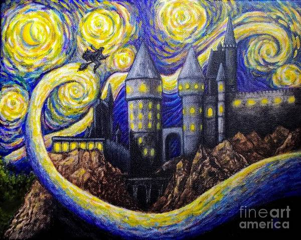 Ron Weasley Wall Art - Painting - Accio Firebolt by Kristen Palmer