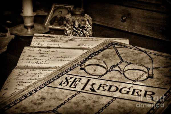 Bookkeeper Photograph - Accountant Ledger And Glasses In Sepia by Paul Ward