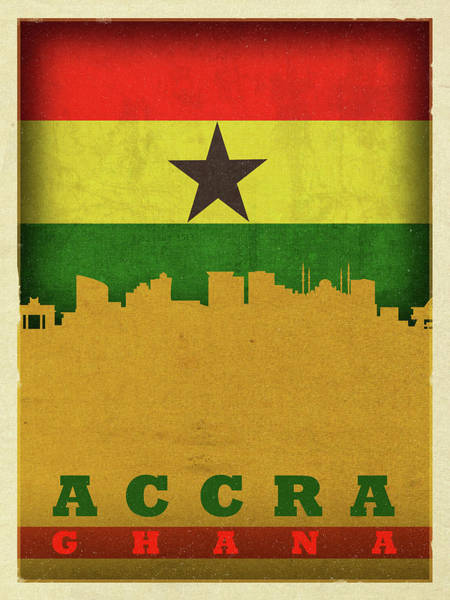 Wall Art - Mixed Media - Accra Ghana World City Flag Skyline by Design Turnpike