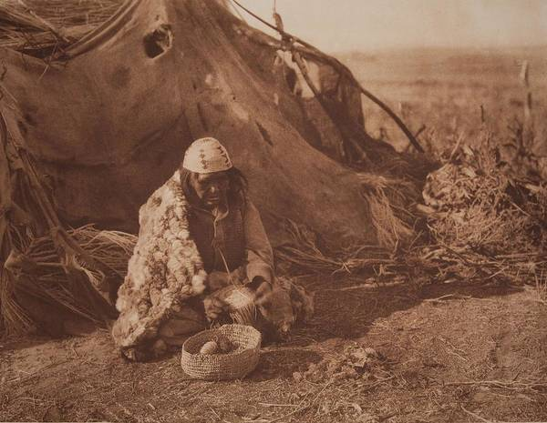 Painting - Achomawi Basket   Maker By Edward Sheriff Curtis by Celestial Images