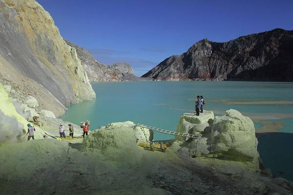 Sulphur Photograph - Acidic Lake In Kawah Ijen Volcano Crater by Timothy Allen