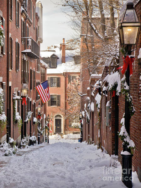Photograph - Acorn Street Snowfall by Susan Cole Kelly
