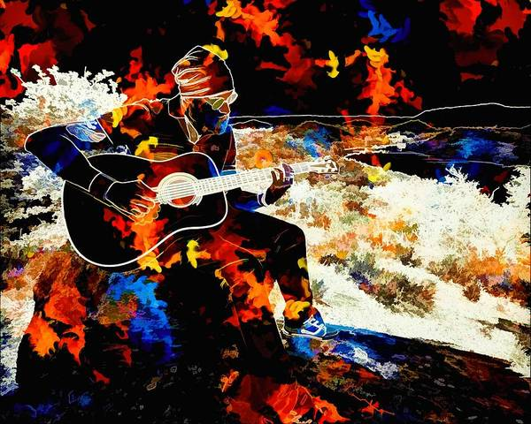Entertainer Painting - Acoustic Guitar by ArtMarketJapan