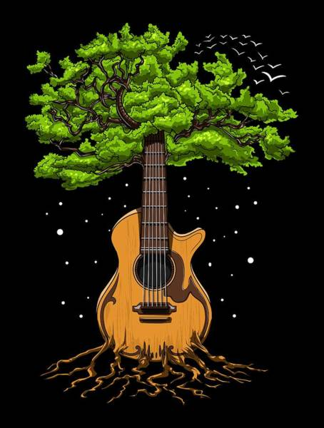Wall Art - Digital Art - Acoustic Guitar Tree Of Life by Nikolay Todorov