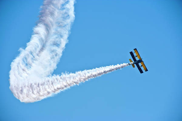 Released Photograph - Acrobatic Biplane With Smoke Trail by Sindre Ellingsen