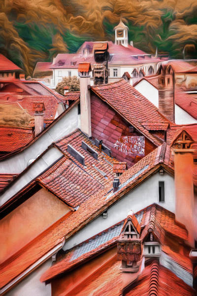 Across Photograph - Across The Red Rooftops Of Bern Switzerland  by Carol Japp
