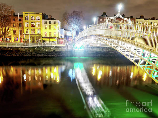 Wall Art - Photograph - Across The River Liffey At Night In Dublin by John Rizzuto
