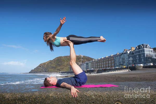 Photograph - Acroyoga On Aberystwyth Beach by Keith Morris