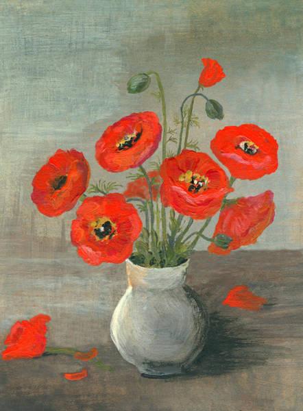 Poppies Digital Art - Acrylic Painted Poppy Flowers by Mitza