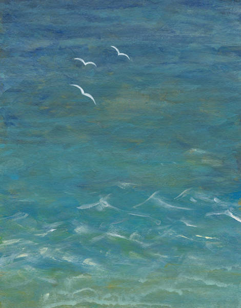 Seagull Digital Art - Acrylic Painted Seascape With Three by Mitza