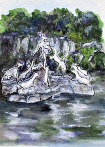 Painting - Actaeon Fountain Caserta by Clyde J Kell