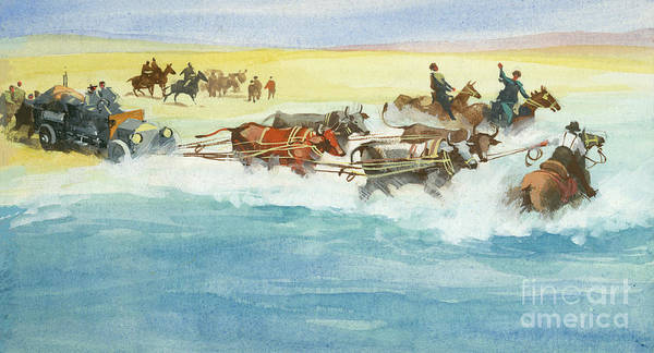 Godard Painting - Action From A Ten Thousand Mile Motor Race by Ferdinando Tacconi