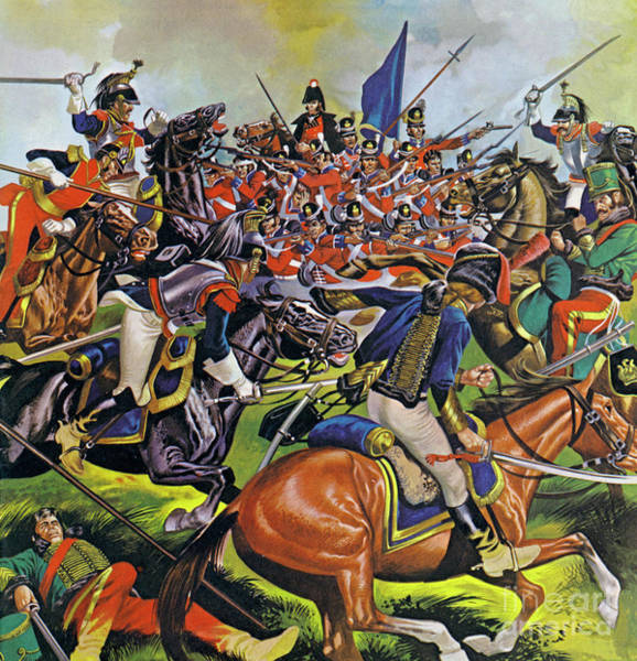 Wall Art - Painting - Action From The Battle Of Waterloo by Ron Embleton