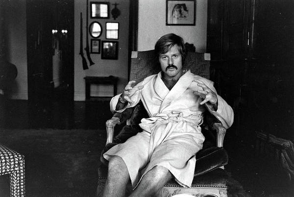 Actor Photograph - Actor Robert Redford In Bathrobe At by John Dominis