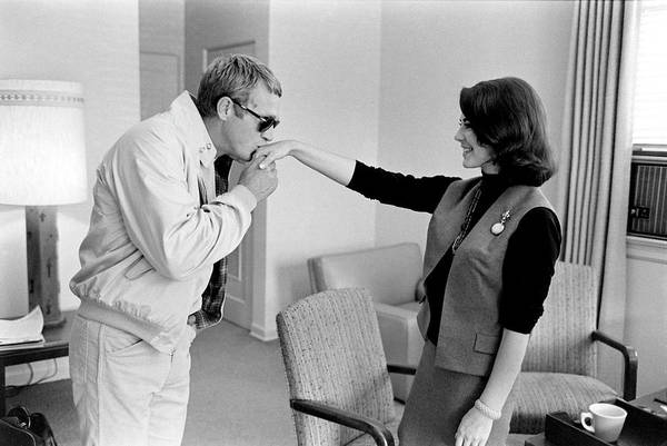 Steve Mcqueen Photograph - Actor Steve Mcqueen Kisses Natalie by John Dominis