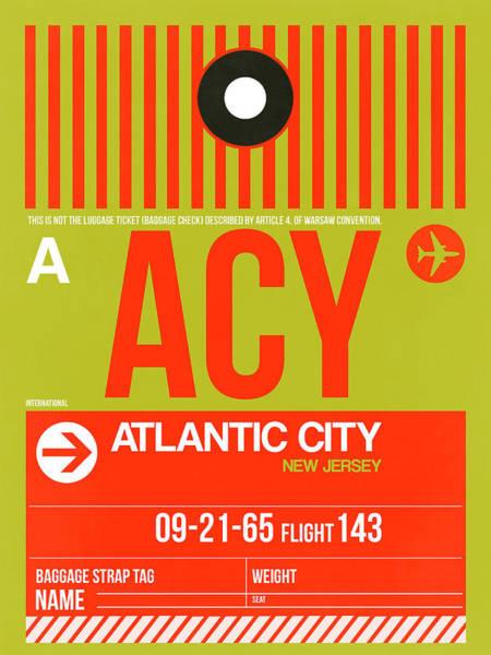 Wall Art - Digital Art - Acy Atlantic City Luggage Tag I by Naxart Studio