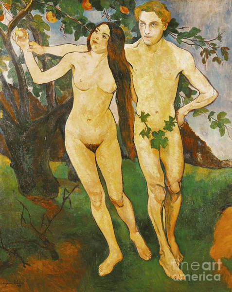 Wall Art - Painting - Adam And Eve, 1909  by Marie Clementine Valadon