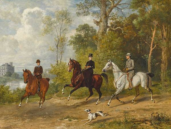 Wall Art - Painting - Adam, Emil 1843 Munich - 1924 Ibid Horseback Riding In The Park by Celestial Images