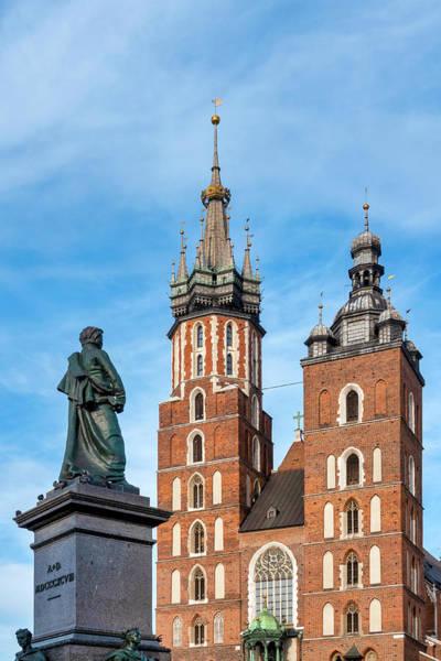 Photograph - Adam Mickiewicz Monument And Saint Mary Basilica by Fabrizio Troiani