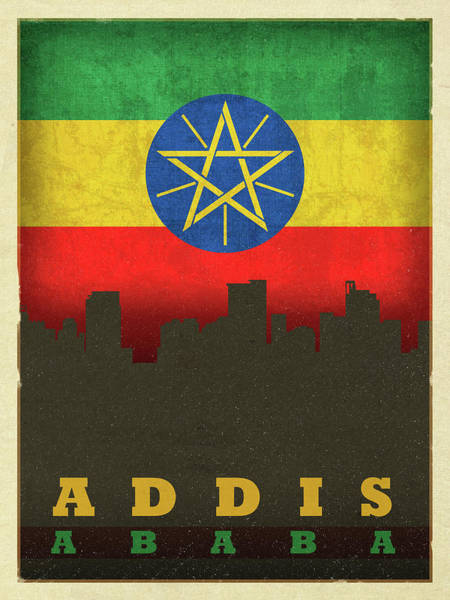 Wall Art - Mixed Media - Addis Ababa Ethiopia World City Flag Skyline by Design Turnpike