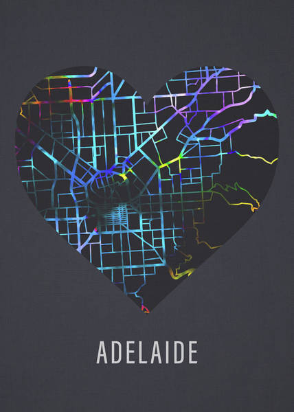 Wall Art - Mixed Media - Adelaide Australia City Street Map Heart Love Dark Mode by Design Turnpike
