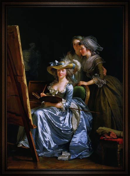 Wall Art - Painting - Adelaide Labille Guiard Self Portrait With Two Pupils by Xzendor7