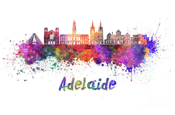Wall Art - Painting - Adelaide V2 Skyline In Watercolor by Pablo Romero