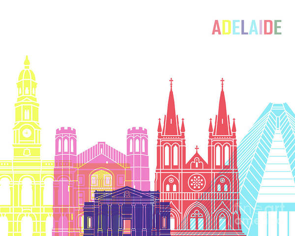 Wall Art - Painting - Adelaide V2 Skyline Pop by Pablo Romero
