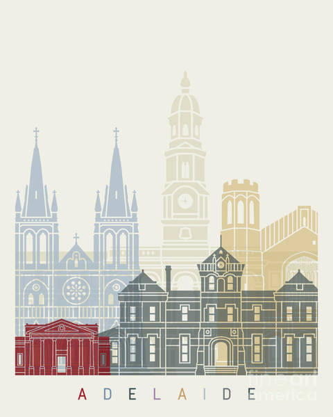 Wall Art - Painting - Adelaide V2 Skyline Poster by Pablo Romero