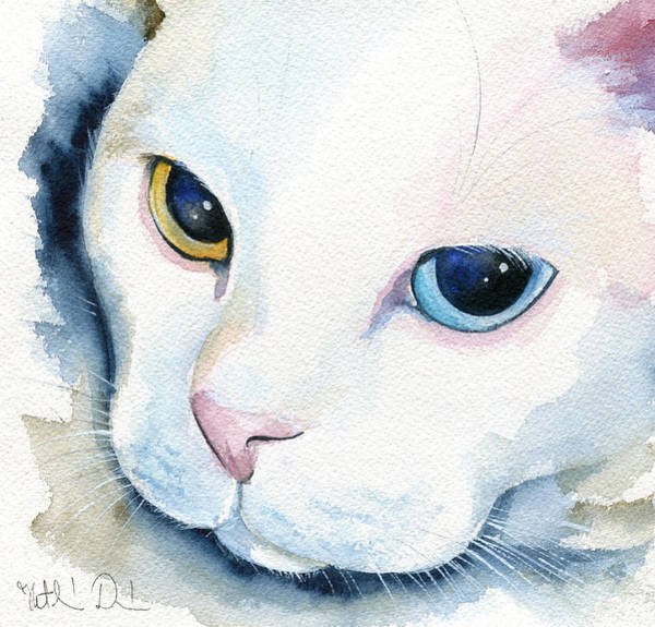 Painting - Adele - White Cat Portrait by Dora Hathazi Mendes