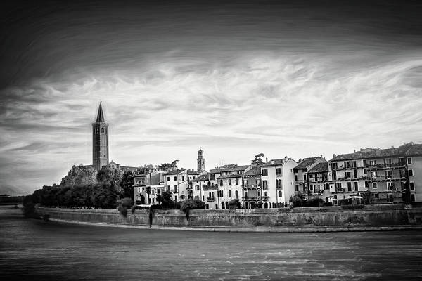 Wall Art - Photograph - Adige River And Historic Old Town Verona Italy Black And White by Carol Japp
