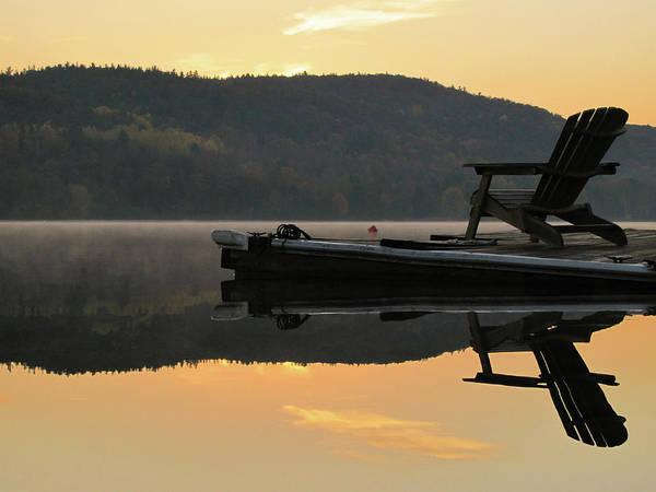 Adirondack Chair Wall Art - Photograph - Adirondack Chair On Dock At Dawn, Autumn by Francois Dion
