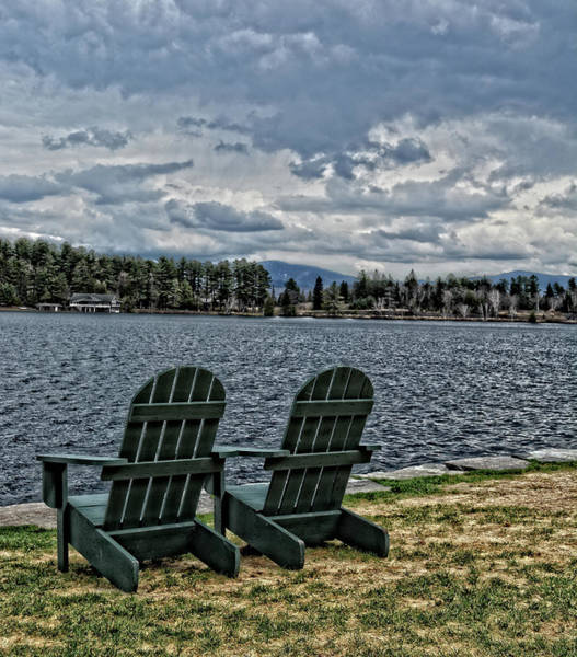 Photograph - Adirondack Chairs By The Lake by Maggy Marsh