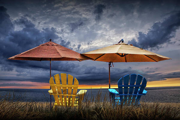 Wall Art - Photograph - Adirondack Chairs On The Beach At Sunset by Randall Nyhof