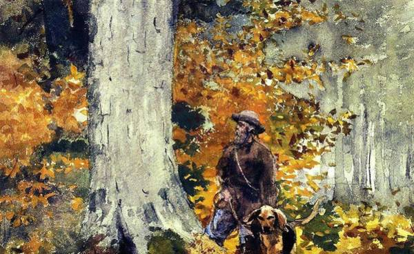 Wall Art - Painting - Adirondack Woods, Guide And Dog Winslow Homer by Celestial Images