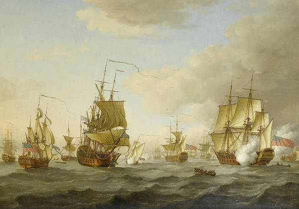 Wall Art - Painting - Admiral Byng's Fleet Getting Underway From Spithead by John Cleveley the Elder