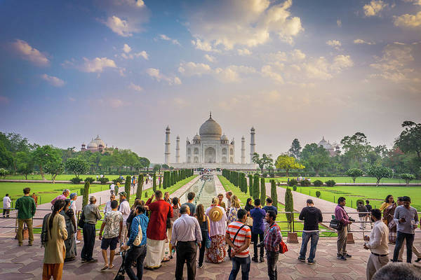 Photograph - Admiring The Taj Mahal by Gary Gillette