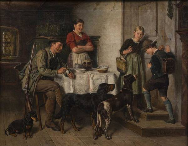 Wall Art - Painting - Adolf Eberle, Family Of A Bavarian Hunter by Celestial Images