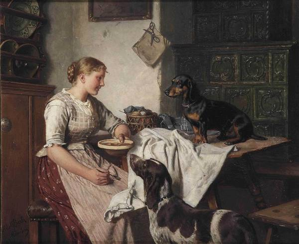 Wall Art - Painting - Adolf Eberle - Feeding The Dogs by Celestial Images