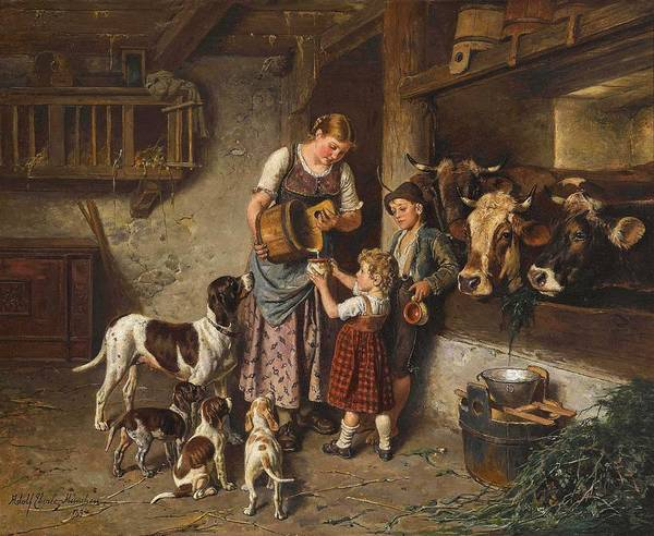 Wall Art - Painting - Adolf Eberle, Fresh Milk by Celestial Images