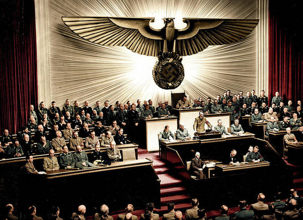 Wall Art - Painting - Adolf Hitler Declaring War Against The United States At The Reichstag, 11 December 1941 by Historical Photo