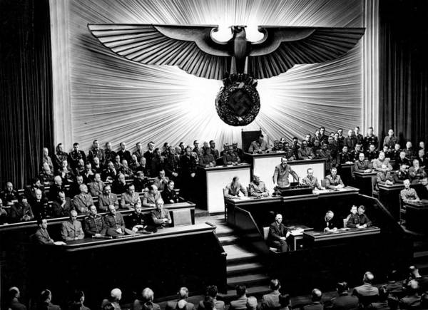 Wall Art - Painting - Adolf Hitler Declaring War On America Dec  11th  1941 Berlin  Reichstagssitzung  Rede Adolf Hitler by Celestial Images