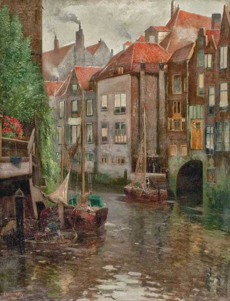 Wall Art - Painting - Adolf Kaufmann - Boats In A Canal by Celestial Images