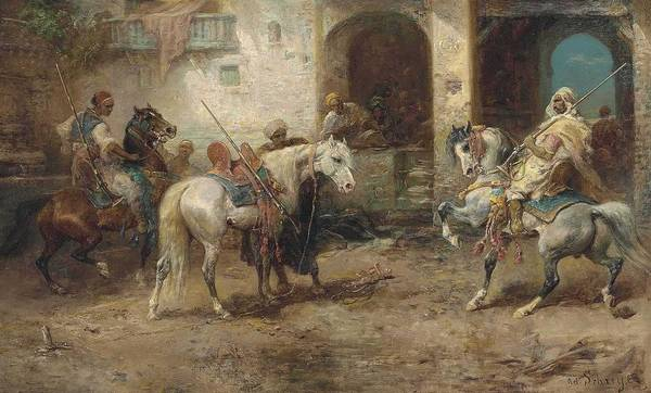 Wall Art - Painting - Adolf Schreyer - Arabian Horsemen by Celestial Images