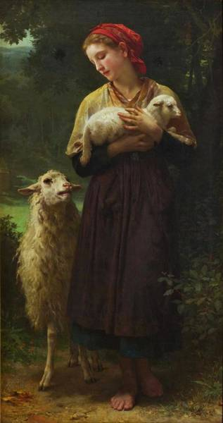 Wall Art - Painting - Adolphe Bouguereau , The Shepherdess by Celestial Images