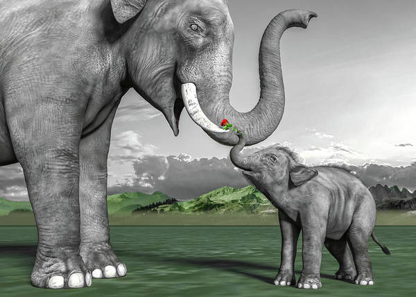Wall Art - Digital Art - Adorable Elephants by Betsy Knapp